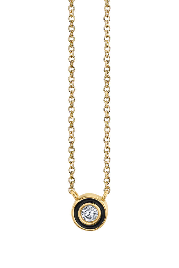Sydney Evan 18K Yellow Gold Single Stone Enamel Necklace