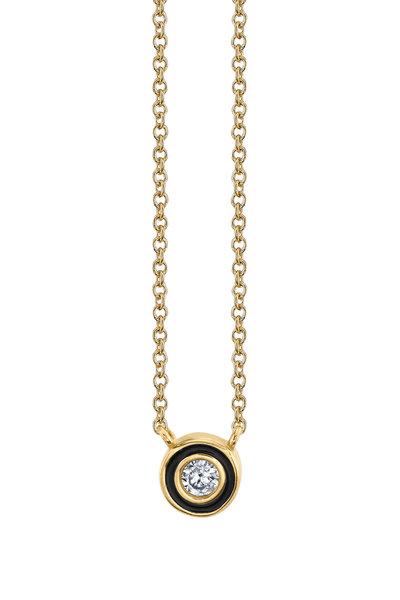 Sydney Evan - 18K Yellow Gold Single Stone Enamel Necklace