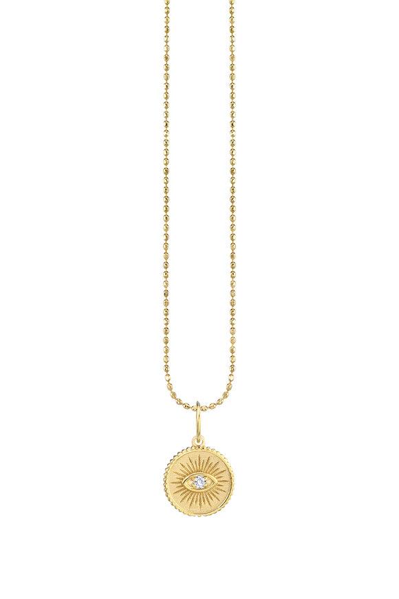 Sydney Evan 18K Yellow Gold Evil Eye Coin Charm Necklace
