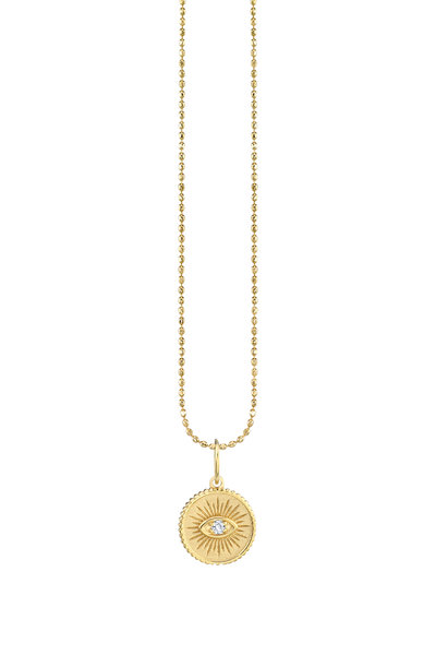 Sydney Evan - 18K Yellow Gold Evil Eye Coin Charm Necklace