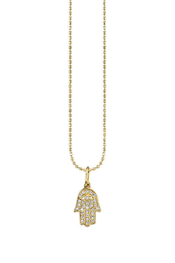 Sydney Evan 18K Yellow Gold Tiny Pavé Hamsa Charm Necklace