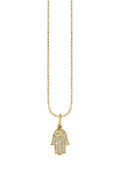 Sydney Evan - 18K Yellow Gold Tiny Pavé Hamsa Charm Necklace