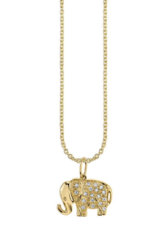Sydney Evan 18K Yellow Gold Elephant Charm Necklace