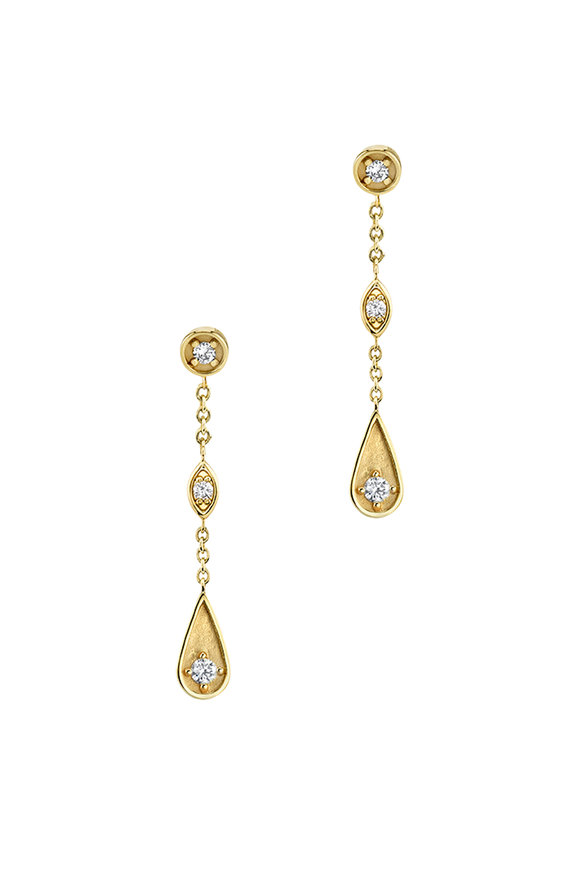 Sydney Evan 18K Yellow Gold Marquis Teardrop Earrings