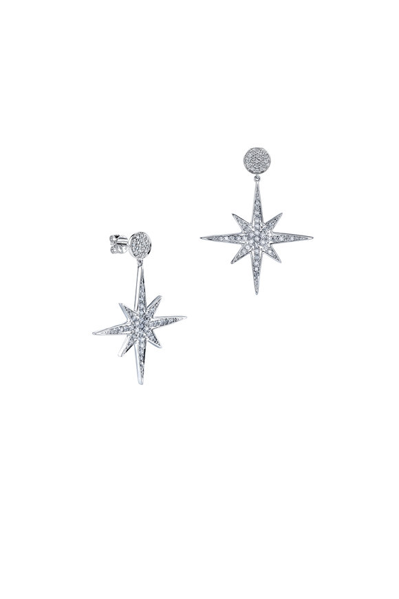 Sydney Evan 18K White Gold Pavé Starburst Earrings