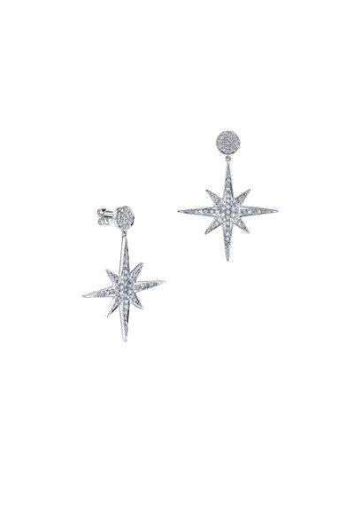 Sydney Evan - 18K White Gold Pavé Starburst Earrings