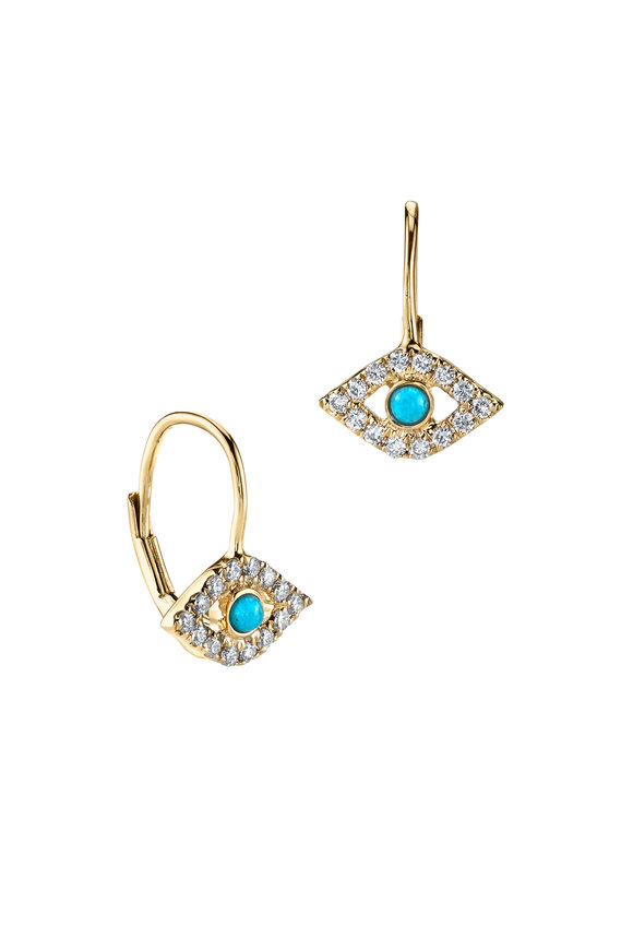 Sydney Evan 18K Yellow Gold Bezel Evil Eye Wire Earrings