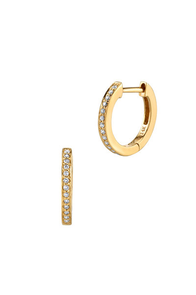 Sydney Evan - 18K Yellow Gold Pavé Huggies