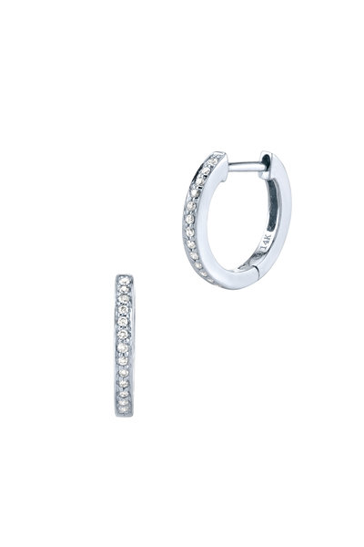 Sydney Evan - 18K White Gold Pavé Huggies