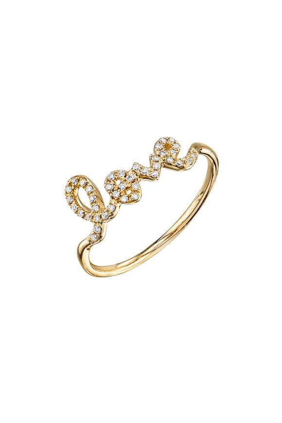 "Sydney Evan 18K Yellow Gold Script ""Love"" Ring"