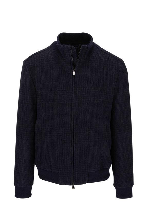 Corneliani Navy Blue Wool & Cashmere Plaid Bomber Jacket