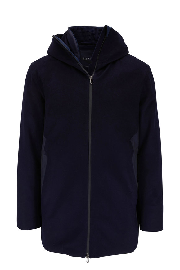 Sease Armada Long Navy Blue Insulated Hooded Jacket