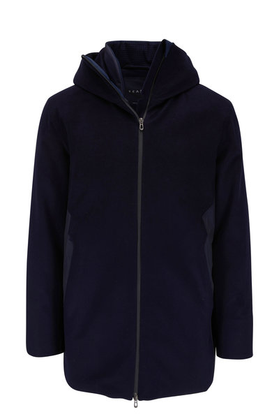 Sease - Armada Long Navy Blue Insulated Hooded Jacket