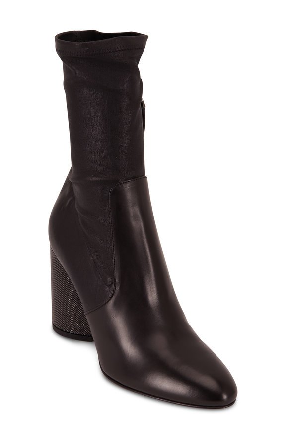 Brunello Cucinelli Black Stretch Leather Monil Heel Bootie, 90mm