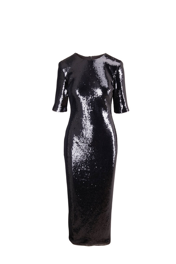 LaPointe Charcoal Gray Stretch Sequin Elbow Sleeve Dress