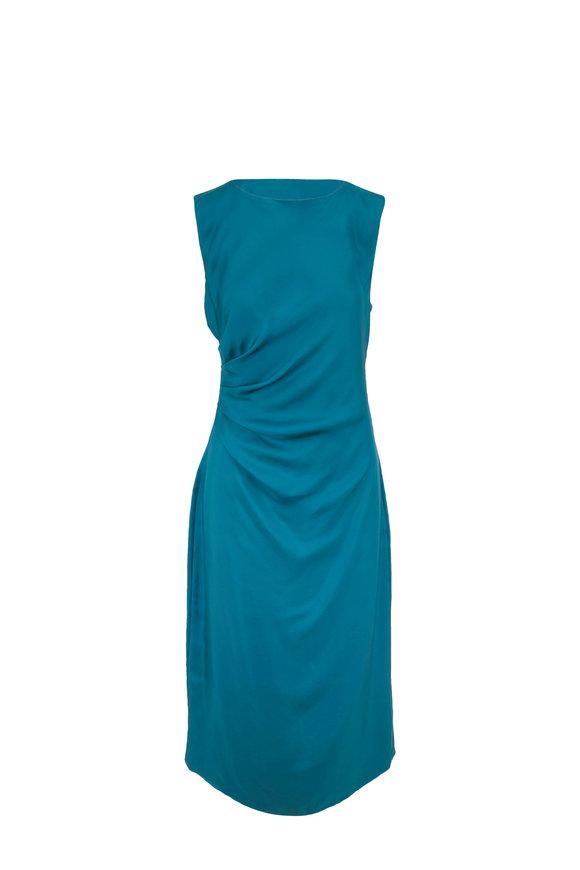 LaPointe Teal Draped Silk Column Midi Dress