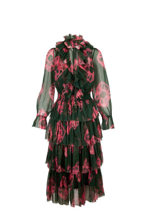 Zimmermann Multicolor Poppy Silk Tiered Frill Dress