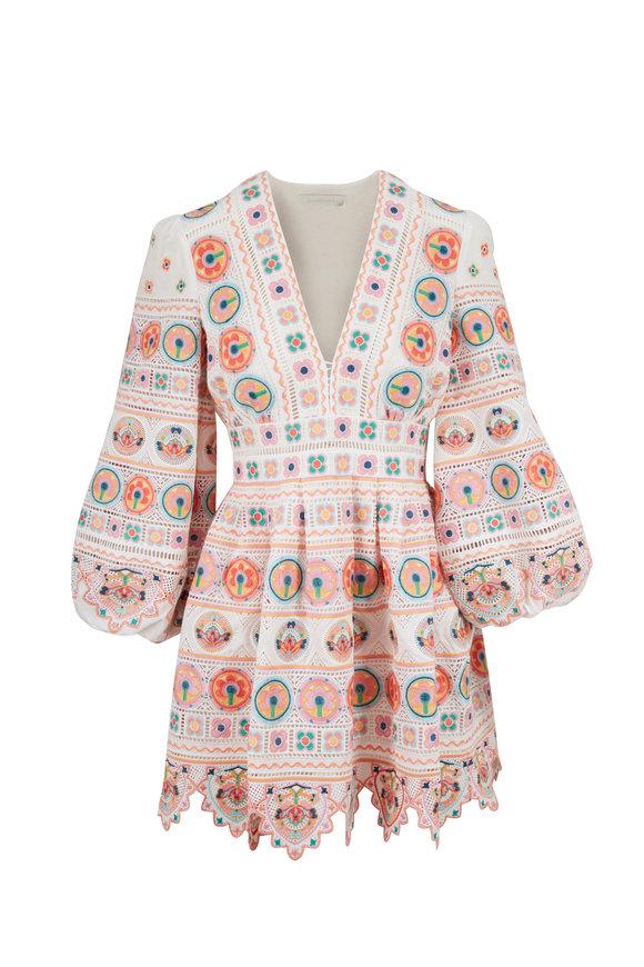 Zimmermann Brighton White Cotton Plunge Dress