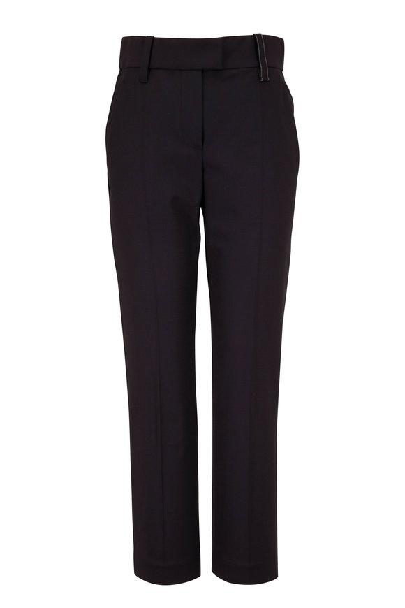 Brunello Cucinelli Black Couture Gabardine Cigarette Leg Pant