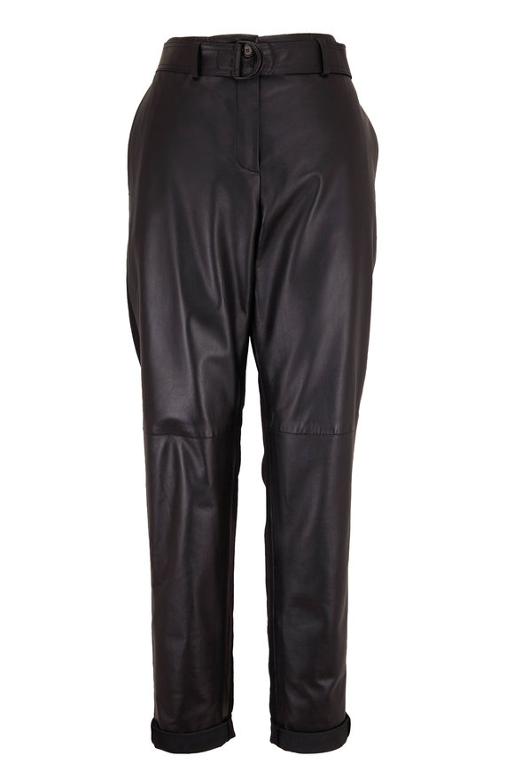 Akris Punto Fallon Black Leather & Wool Back Belted Pant