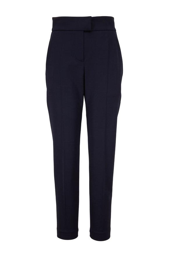 Brunello Cucinelli Midnight Wool Tab Waist Straight Leg Pant