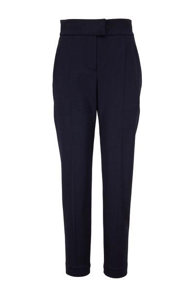 Brunello Cucinelli - Midnight Wool Tab Waist Straight Leg Pant