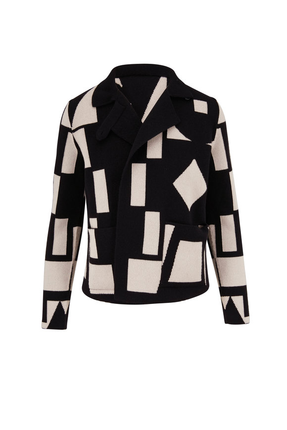 Akris Black & White Reversible Knit Jacket