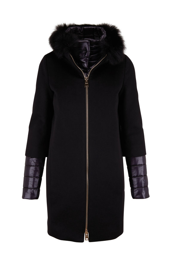 Herno Black Cashmere Cocoon Coat with Fox Fur Hood
