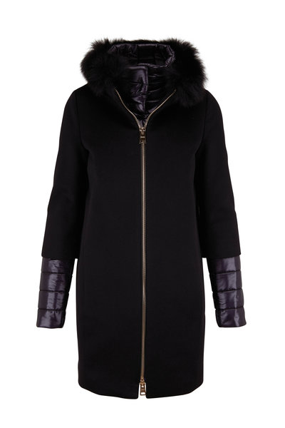 Herno - Black Cashmere Cocoon Coat with Fox Fur Hood