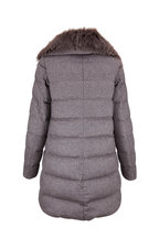 Herno - Grey Cashmere, Silk, & Fox Fur A-Line Jacket