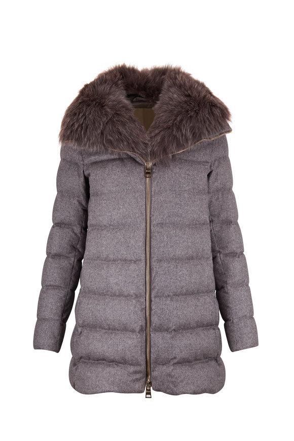 Herno Grey Cashmere, Silk, & Fox Fur A-Line Jacket