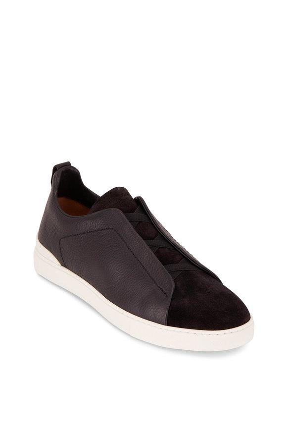 Ermenegildo Zegna Black Leather & Suede Triple Stitch Sneaker