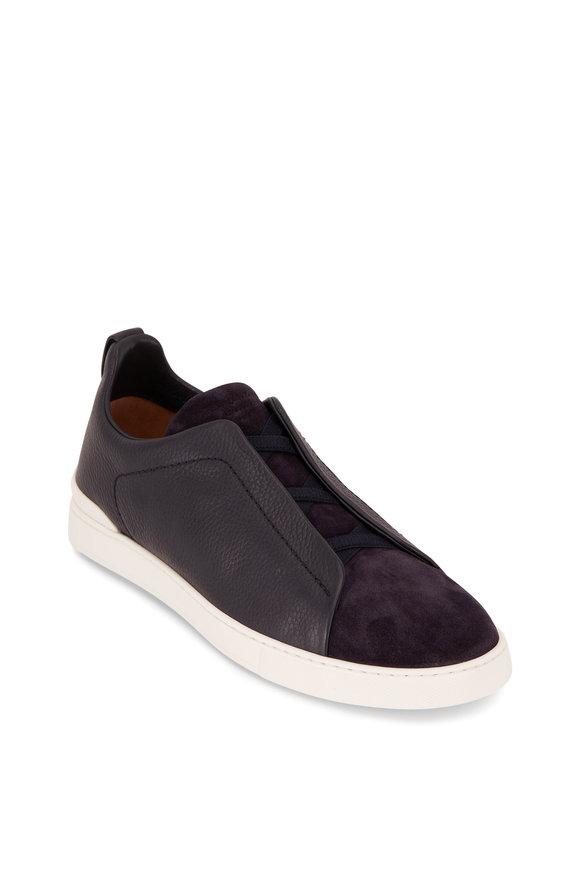 Ermenegildo Zegna Triple Stitch Navy Leather & Suede Sneaker