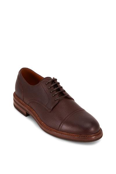 Brunello Cucinelli - Dark Brown Deerskin Cap Toe Derby Loafer
