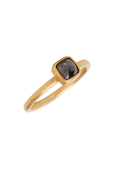Caroline Ellen - Yellow Gold Square Cut Black Diamond Stack Ring