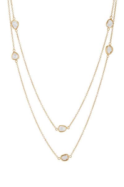 Caroline Ellen - Yellow Gold White Sapphire Station Chain