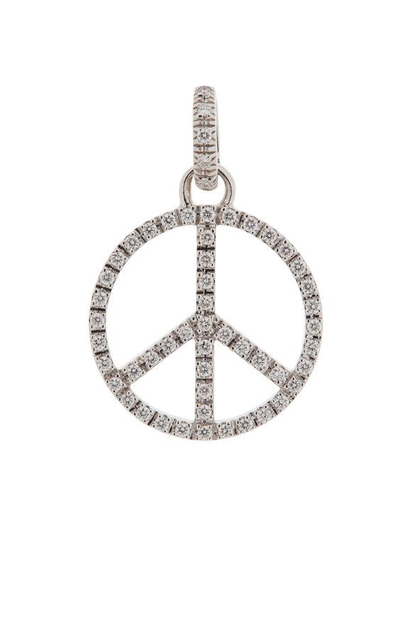 Sidney Garber 18K White Gold Large Peace Charm