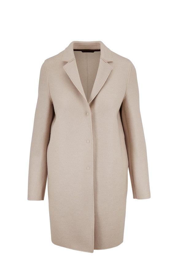 Harris Wharf Almond Pressed Wool Cocoon Coat