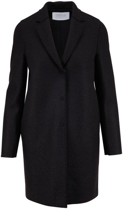Harris Wharf Black Pressed Wool Cocoon Coat