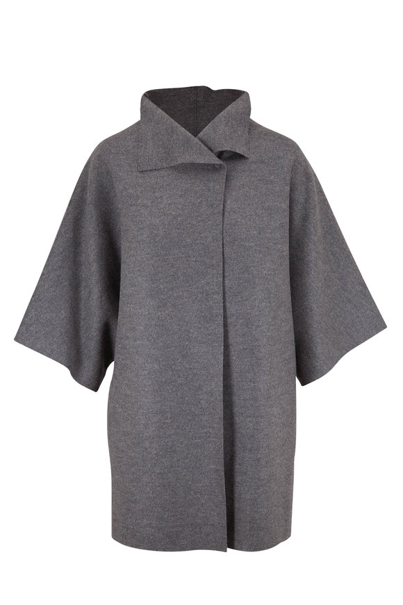 Harris Wharf Grey Pressed Wool Kimono Jacket