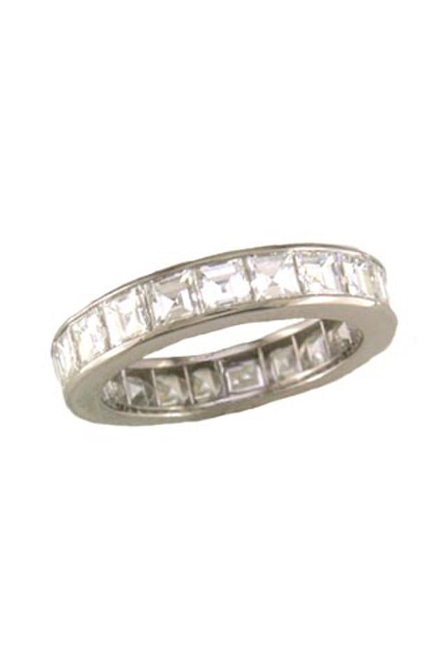Platinum Square-Cut Diamond Guard Ring