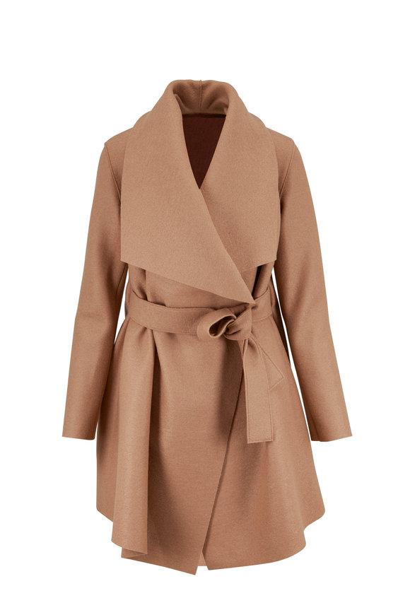 Harris Wharf Tan Wool Belted Blanket Coat