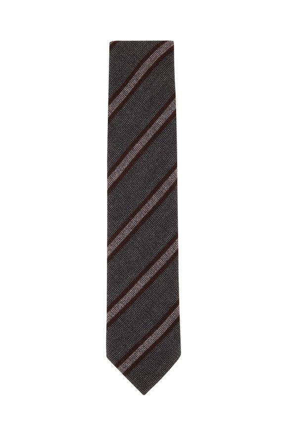 Brioni Gray Wool & Silk Diagonal Stripe Necktie
