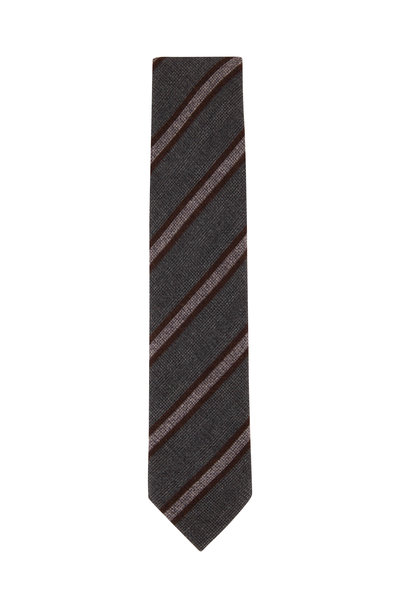 Brioni - Gray Wool & Silk Diagonal Stripe Necktie