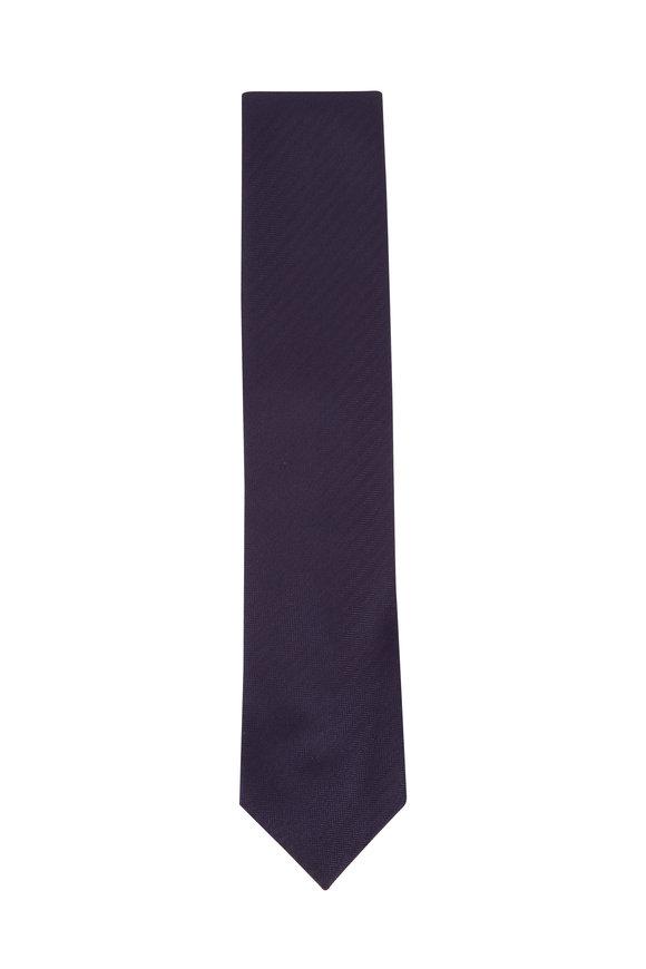 Brioni Navy Blue Herringbone Silk Necktie