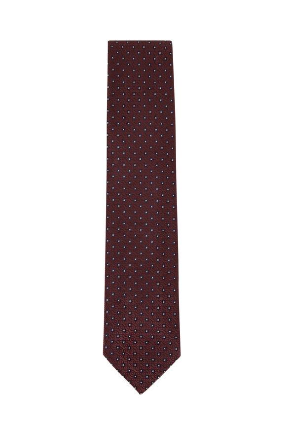 Brioni Burlap & Blue Square Design Silk Necktie