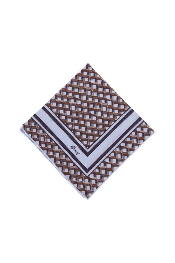 Brioni Light Blue & Brown Geometric Print Pocket Square