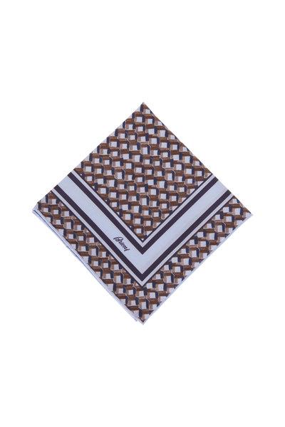 Brioni - Light Blue & Brown Geometric Print Pocket Square