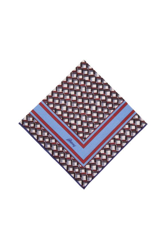 Brioni Blue & Red Geometric Print Pocket Square