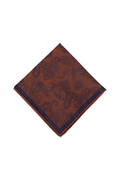 Brioni - Brown & Navy Paisley Silk Pocket Square